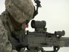 Stock Video Footage of Army Machine Gunner