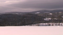 New England town in the winter pan - stock footage