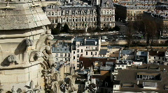 View on city from Notre Dame de Paris - stock footage