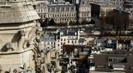 View on city from Notre Dame de Paris Stock Footage