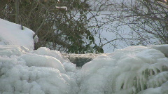 Icicles forming on a small waterfall during a cold winter in Sweden Stock Footage