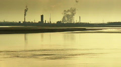 Smoke pouring from chimneys of petrochemical plant 3 Stock Footage