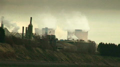Steam from coal fired power station - stock footage