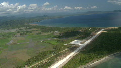 Aerial approach of a rural airstrip Stock Footage