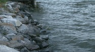 Stock Video Footage of river tide against rocks