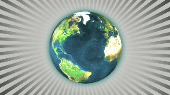 Earth with rays rotating - stock footage