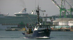 Commercial Fishing Boat In Channel Stock Footage