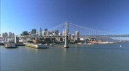 Stock Video Footage of Aerial view of Oakland Bay Bridge