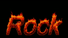 Loopable burning Rock word Stock Footage