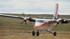 Tundra Plane Landing Stock Footage