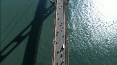 Aerial view of traffic on Golden Gate Bridge - stock footage