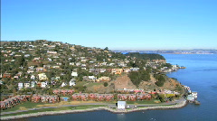 Aerial view of coastline secluded homes Stock Footage