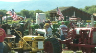 Tractors and flags 1 Stock Footage