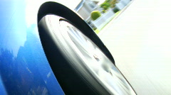 Sports car wheel - neighborhood - stock footage