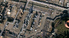 Aerial view of oil refinery plant - stock footage