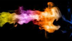 Color fire on black background, high-definition 3d render - stock footage
