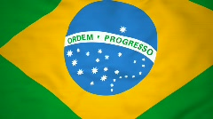 High-definition 3d render Flag of Brazil Stock Footage