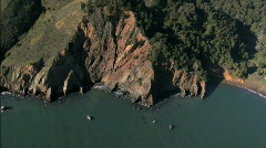 Aerial view of coastline hillside Stock Footage