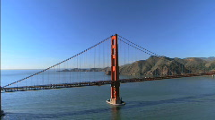 Aerial view over Golden Gate Bridge Stock Footage