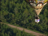 View from a basket on a balloon below Stock Footage