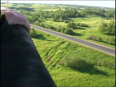 View from a basket on a plain below Stock Footage
