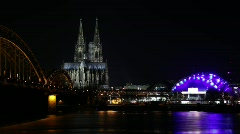 Cologne At Night, With the cathedral Stock Footage