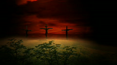 Sunset Clouds Behind Three Crosses Stock Footage
