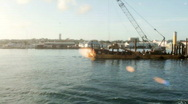 Construction Barge in Harbor Stock Footage