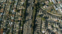 Aerial view of Suburban Freeway - stock footage