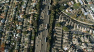 Stock Video Footage of Aerial view of Suburban Freeway