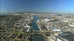 Aerial panorama of dockland areas, San Francisco Stock Footage