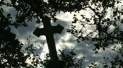 Cemetery Grave Crosses - 09 Stock Footage