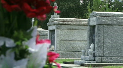 Cemetery Graves with Flowers - 04 Stock Footage