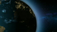 left side of extremely realistic 3d Earth with city light / globe / world - stock footage