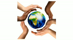Multiracial Hands Surrounding the Earth Globe - stock footage