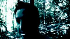 Chased in the dark forest - stock footage