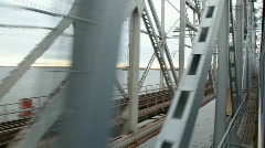 view from train on railway bridge - stock footage