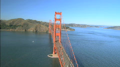 Aerial view flying over Golden Gate Bridge, San Francisco Stock Footage