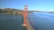 Stock Video Footage of Aerial view flying over Golden Gate Bridge, San Francisco