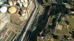 Aerial view flying over an oil refinery  Stock Footage