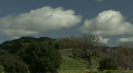 Stock Video Footage of Clouds over lush green hills in Malibu