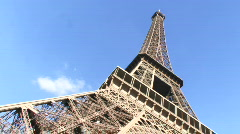 Low angle view on Eiffel Tower, Paris France Stock Footage