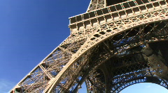Low angle PAN up of  Eiffel Tower, Paris, France Stock Footage