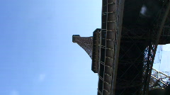 Low angle view and PAN on Eiffel Tower, Paris France Stock Footage
