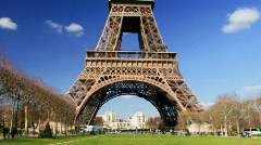 Wide shot, PAN up on Eiffel Tower, Paris France Stock Footage