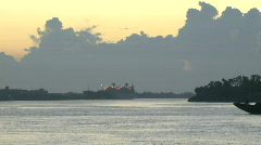 Ships Tugboats Time Lapse during Sunrise in New Orleans - 15 Stock Footage