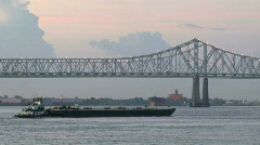 Ships Tugboats during Sunrise in New Orleans - 12 Stock Footage