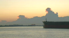 Ships Tugboats Time Lapse during Sunrise in New Orleans - 10 Stock Footage