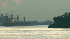 Ships Tugboats during Sunrise in New Orleans - 02 Stock Footage