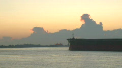 Ships Tugboats during Sunrise in New Orleans - 01 Stock Footage